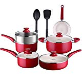 COOKSMARK Pots and Pans Set White Ceramic Coating Nonstick Aluminum Cookware Set With glass lids and Nylon Utensils Sauce Pan with Steamer Dishwasher Safe PTFE PFOA Free 12-PCS, Red