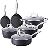 COOKSMARK Kingbox 10-Piece Hard-Anodized Aluminum Nonstick Cookware Set, Scratch Resistant Pots and Pans Set, Dishwasher Safe Oven Safe, Grey