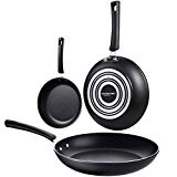 COOKSMARK Aluminum Nonstick Frying Pan Set 3-Piece 8-Inch 9.5-Inch and11-Inch,Dishwasher Safe Cookware Set,Black