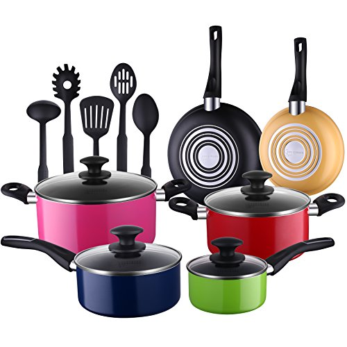Cooksmark 15-Piece Nonstick Cookware Set-Multicolor Kitchen Pots and Pans Set Nonstick with 5-piece FDA Grade Nylon Cooking Utensils