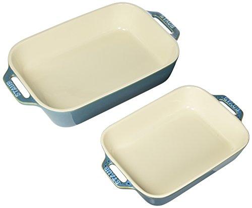 Staub 40511-924 Ceramics Rectangular Baking Dish Set 2-piece Rustic Turquoise