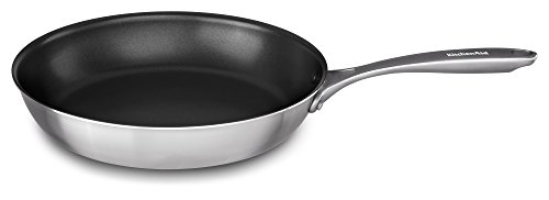 "KitchenAid KC2C12NKST 5-ply Copper Core 12"" Nonstick Skillet, Stainless Steel Finish, Medium"