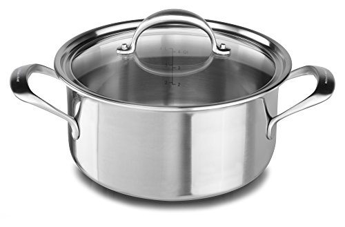KitchenAid KC2C60LCST 5-Ply Copper Core 6 quart Low Casserole with Lid – Stainless Steel, Medium, Stainless Steel Finish