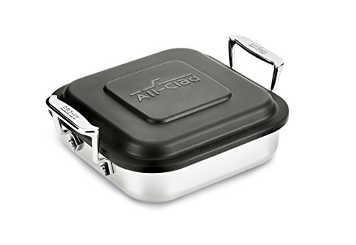 All-Clad E9019464 Gourmet Accessories Stainless Steel Square Baker w/ lid cookware, 8-Inch, Silver