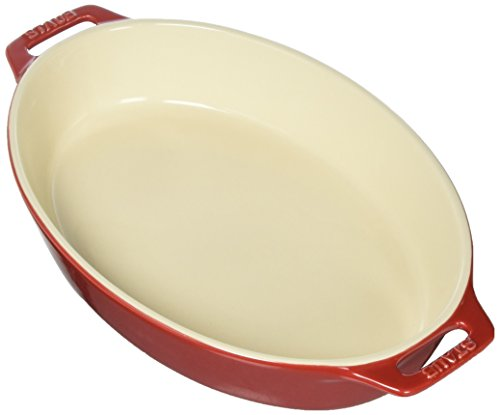 Staub 40508-605 Ceramics Oval Baking Dish, 11-inch, Cherry