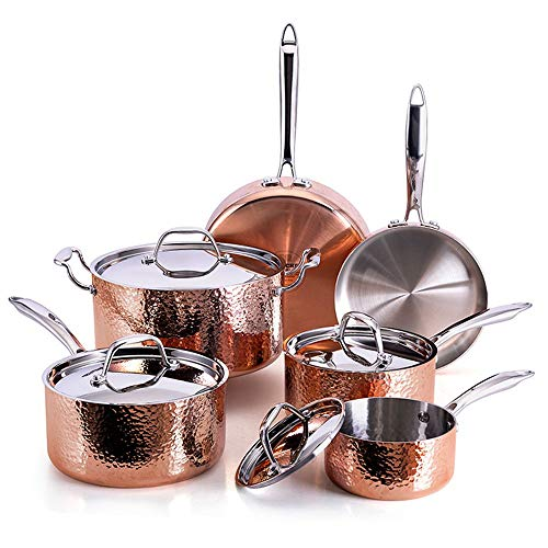 Oprah Suggested Her Favorite Things – Fleischer & Wolf Seville Series Cookware Set (10-Piece) – Tri-ply Hammered Stainless Steel Copper-Oven and Grill safe Kitchen Pots and Pans Set