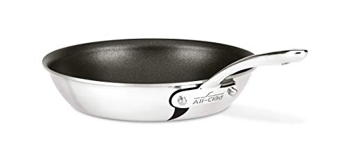 All-Clad ST4108.5 NS R2 D3 Compact Stainless Steel PFOA-/Free Nonstick Dishwasher Safe Fry Pan Cookware, 8.5-Inch, Silver