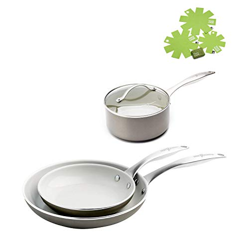 GreenPan 9.5-Inch & 12-Inch Open Frypan Set, 2 Quart Titanium Non-Stick Ceramic Covered Saucepan with Nonstick Cookware Take Care Kit