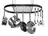 Kinetic Pot and Pan Rack with Ceiling Hooks - Premium Oval Mounted Oragnizer Rack with Multi Purpose Kitchen Organization and Storage for Home, Restaurant, Cookware, Utensils (Hanging Black)
