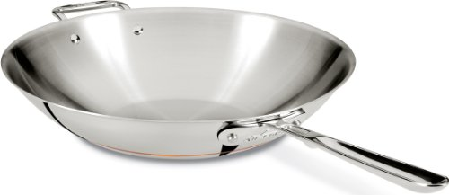 All-Clad 6414 SS Copper Core 5-Ply Bonded Dishwasher Safe Open Stir Fry Pan / Cookware, 14-Inch, Silver