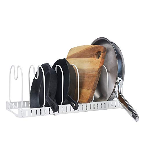 GRANNY SAYS Expandable Cookware Organizer Rack, 7 Adjustable Compartments, Pan/Pot/Lid Holder, Extended to 22