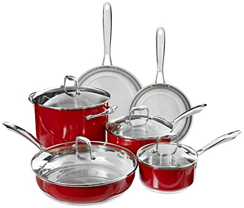 KitchenAid KCSS10ER Stainless Steel 10-Piece Cookware Set – Empire Red