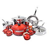 Le Creuset 20 Piece Stainless Steel Cookware Set with Cerise Cherry Enameled Cast Iron 5.5 Quart French Oven