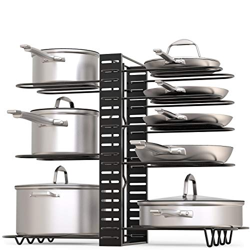 GeekDigg Pot Rack Organizer, 3 DIY Methods, Height and Position are Adjustable 8+ Pots Holder, Black Metal Kitchen Cabinet Pantry Pot Lid Holder (Upgraded)