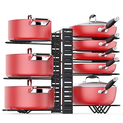Pan Organizer Rack for Cabinet Adjustable, Cabinet Pot Rack Organizer with 3 DIY Methods, 8 Metal Shelves with Anti-slip Layer