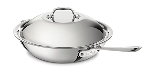 All-Clad 4412 Stainless Steel Tri-Ply Bonded Dishwasher Safe Chef's Pan with Domed Lid / Cookware, 4-quart, Silver