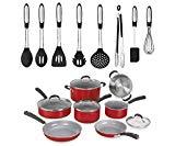 Cuisinart Advantage 11-Piece Aluminum Non-Stick Cookware Set, Red bundle with Elements 8-Piece Silicone Kitchen Utensil Set