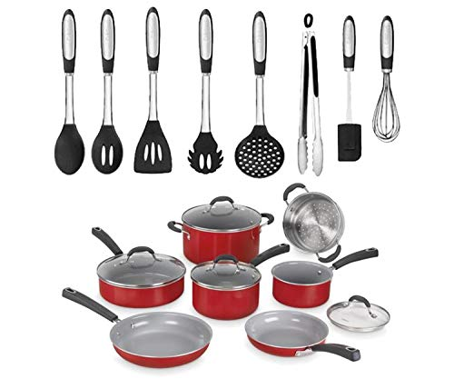 Cuisinart Advantage 11-Piece Aluminum Non-Stick Cookware Set, Red bundle with Elements 8-Piece Silicone Kitchen Utensil Set