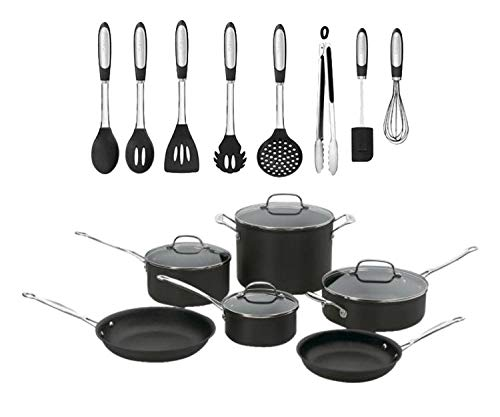 Cuisinart Chef's Classic 10-Piece Hard Anodized Cookware Set with Skillet and Stockpot, Black Bundle with Elements 8-Piece Silicone Kitchen Tool or Utensil Set