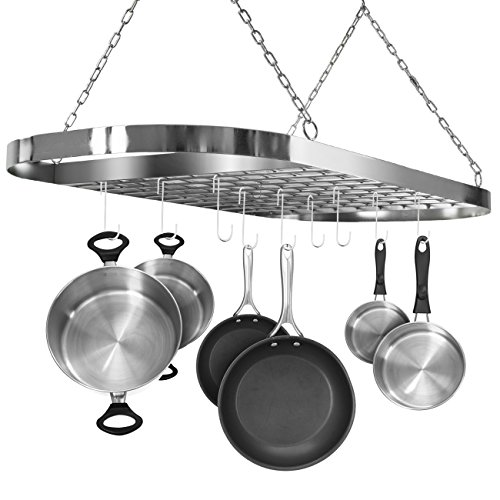 Sorbus Pot and Pan Rack for Ceiling with Hooks - Decorative Oval Mounted Storage Rack - Multi-Purpose Organizer for Home, Restaurant, Kitchen Cookware, Utensils, Books, Household (Hanging Chrome)