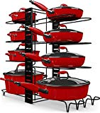Storlux Pots and Pans Organizer - Adjustable 8 Tier Pan Rack Organizer with 3 DIY Method - Kitchen Under Cabinet Organizer Rack for Lids - Safe Black Metal Pot and Pan Holder and Cookware Organizer