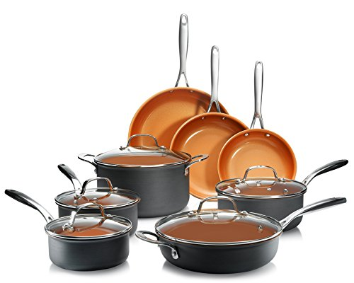 Gotham Steel Professional - Hard Anodized Pots and Pans 13 Piece Premium Cookware Set with Ultimate Nonstick Ceramic & Titanium Coating, Oven and Dishwasher Safe