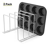 Stock Your Home Large Rust-Free Durable Coated Steel Bakeware Organizer - Kitchen Cookware Rack for Dinnerware, Bakeware, Cookware, Cutting Boards, Pot, Pan Lids (White, 2 Pack)