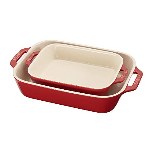 Staub 40508-627 Ceramics Rectangular Baking Dish Set, 2-piece, Cherry
