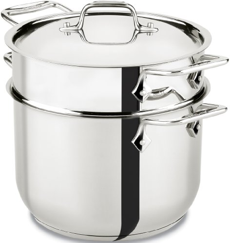 All-Clad E414S6 Stainless Steel Pasta Pot and Insert Cookware, 6-Quart, Silver - 2100078499