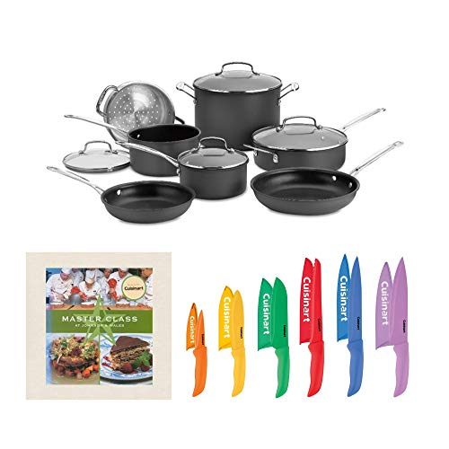 Cuisinart 66-11 Chef039;s Classic Nonstick Hard-Anodized 11-Piece Cookware Set with 12 Piece Knife Set and Cookbook (3 Items)
