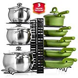UPGRADED Kitchen Pot Pan Organizer - Cabinet Kitchen Organizers with Large Storage Capacity - Kitchen Cabinet Organizers and Storage for Small and Large Cookware - Countertop Pot Rack - Lid Organizer