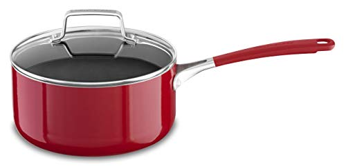 KitchenAid KC2A30PLER Aluminum Nonstick 3.0 quart Saucepan with Lid - Empire Red, Medium