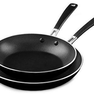 "KitchenAid Onyx Black, M KC2A10TPOB Aluminum Nonstick 10"" and 12"" Skillets Twin Pack, Medium"
