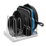 YouCopia 50109 StoreMore Cookware Rack Adjustable Pan Organizer, New, White