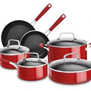 KitchenAid KC2AS10ER Aluminum Nonstick 10-Piece Set-Empire Red, Large