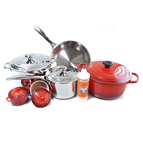 Le Creuset 11 Piece Cherry Cookware Set with Bonus Le Creuset Stainless Steel Cleaner