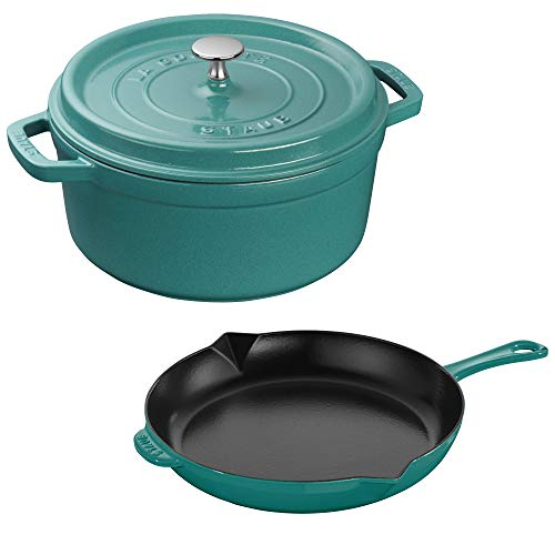 STAUB 40506-551 Cast Iron Cookware Set, 3-pc, Turquoise