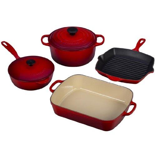 Le Creuset Classic Enameled Cast-Iron 6-Piece Cookware Set, Satin Red