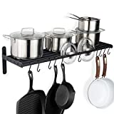Wallniture Lyon Hanging Pot Rack Wall Mounted Shelf with Hooks - Heavy Duty Pot Hangers for Kitchen - Cookware Utensils Pot Lid Organizer Storage, Metal, Frosty Black