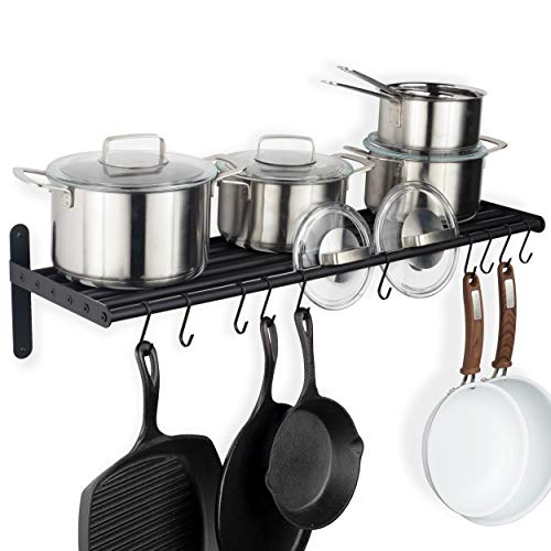 Wallniture Lyon Hanging Pot Rack Wall Mounted Shelf with Hooks – Heavy Duty Pot Hangers for Kitchen – Cookware Utensils Pot Lid Organizer Storage, Metal, Frosty Black
