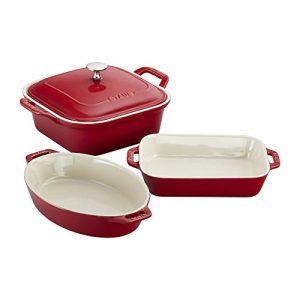 Staub 40508-646 Ceramics 4-pc Baking Dish Set-Cherry