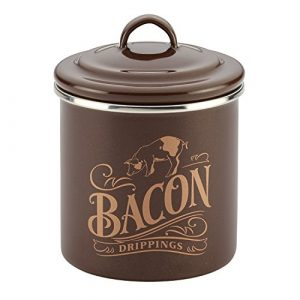 Ayesha Curry 46950 Enamel on Steel Bacon Grease Can / Bacon Grease Container - 4 Inch, Brown