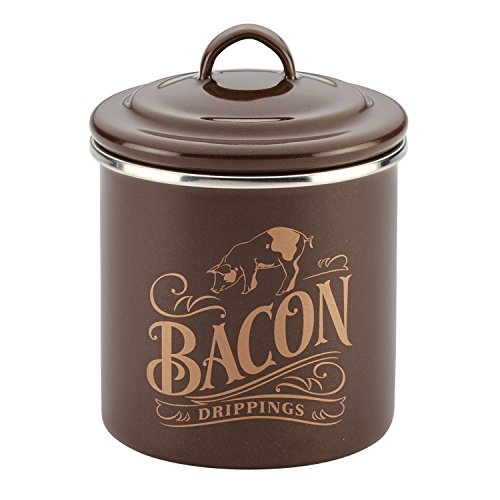 Ayesha Curry 46950 Enamel on Steel Bacon Grease Can / Bacon Grease Container – 4 Inch, Brown