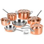 Mauviel 2.5mm Brushed Copper Cookware Set, 12 Piece - Made in France - Stainless Steel Handles (M'heritage M250S)