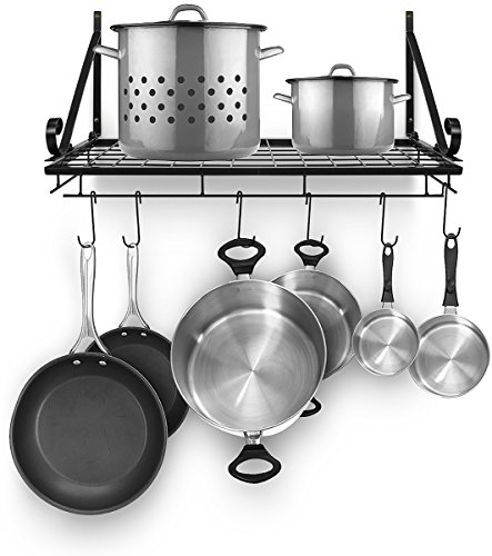 Sorbus Pots and Pan Rack - Decorative Wall Mounted Storage Hanging Rack - Multipurpose Wrought-Iron shelf Organizer for Kitchen Cookware, Utensils, Pans, Books, Bathroom (Wall Rack - Black)