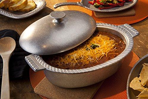 Wilton Armetale Gourmet Grillware Oval Chili Pot with Lid, 4-Quart