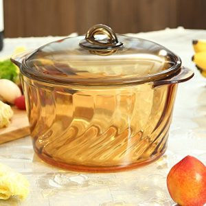 YITA Made in France 5.0L Round Stewpot with Glass Cover for cooking Soup, Frying, Steaming, Deep Frying, Boiling and More