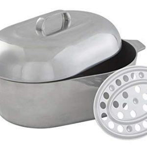 "IMUSA USA Heavy Duty Cajun Oval Cast Aluminum Roaster 18"", Silver"