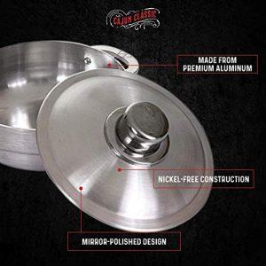 Cajun 4.63-Quart Aluminum Dutch Oven Pot with Lid - Oven-Safe Round Caldero - Nickel-Free Stew Pot