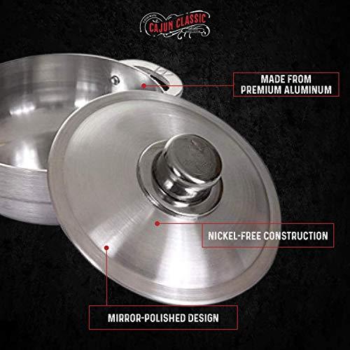 Cajun 4.63-Quart Aluminum Dutch Oven Pot with Lid – Oven-Safe Round Caldero – Nickel-Free Stew Pot